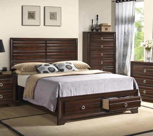Bryce Transitional Cappuccino Wood Platform Beds CST-203471-BEDS