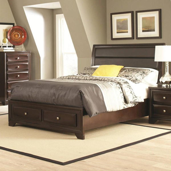 Jaxson Transitional Cappuccino Wood Fabric Cal King Bed CST-203481KW