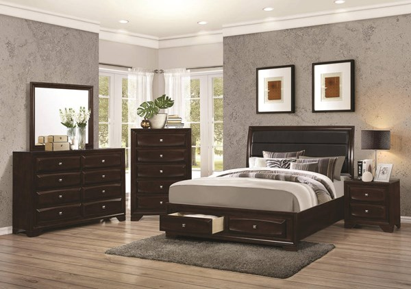 Jaxson Transitional Cappuccino Wood Fabric Master Bedroom Set CST-203481-BR