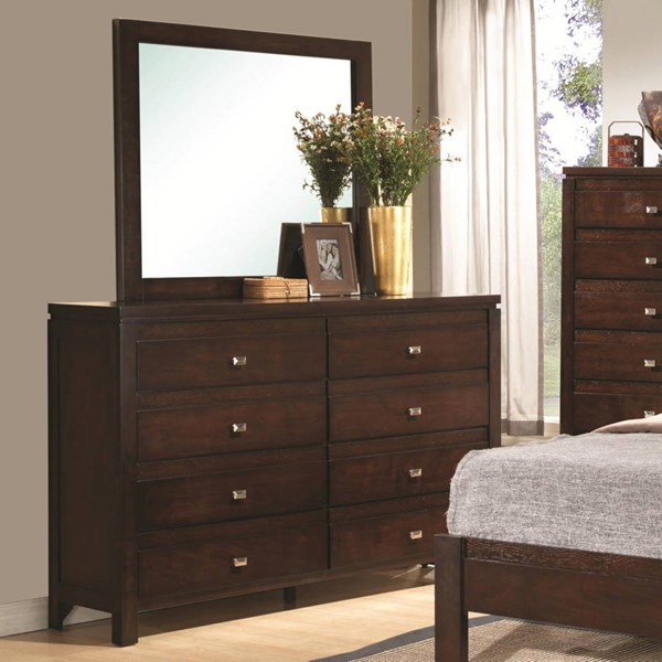 Cameron Transitional Rich Brown Wood Dresser & Mirror CST-203493-94