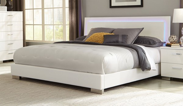 Felicity Contemporary Glossy White Wood King Bed CST-203500KE
