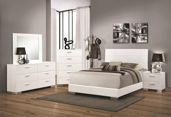 Felicity Contemporary Glossy White PU Master Bedroom Set CST-203501-BR