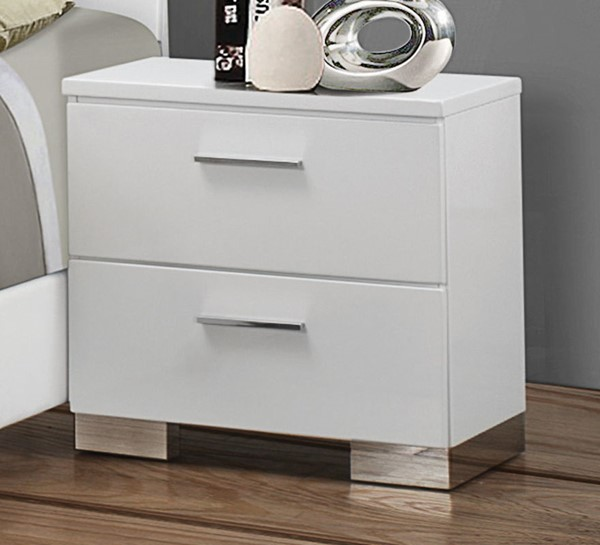 Coaster Furniture Felicity Glossy White Night Stand CST-203502