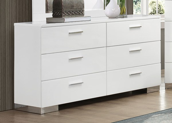 Felicity Contemporary Glossy White Wood Dresser CST-203503