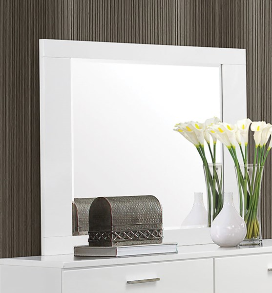 Felicity Contemporary Glossy White Wood Mirror CST-203504
