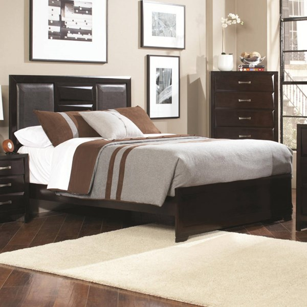 Palmetto Transitional Cappuccino Wood Faux Leather Beds CST-203551-BEDS