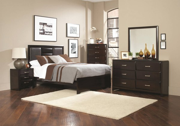 Palmetto Transitional Cappuccino Wood 5pc Bedroom Sets CST-203551-BR-S