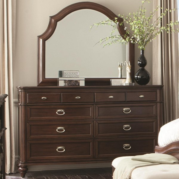 Sherwood Modern Red Brown Wood Dresser & Mirror CST-203613-14