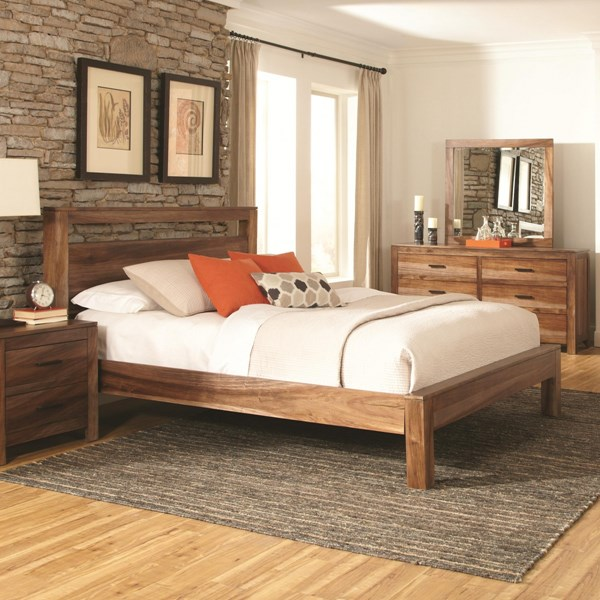Peyton Traditional Brown Wood Glass Master Bedroom Set CST-203651-BR