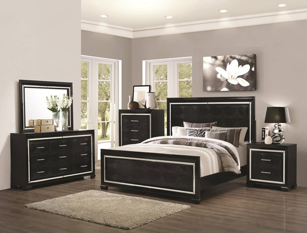 Zimmer Contemporary Black Wood 5pc Bedroom Sets CST-203721-BR-S