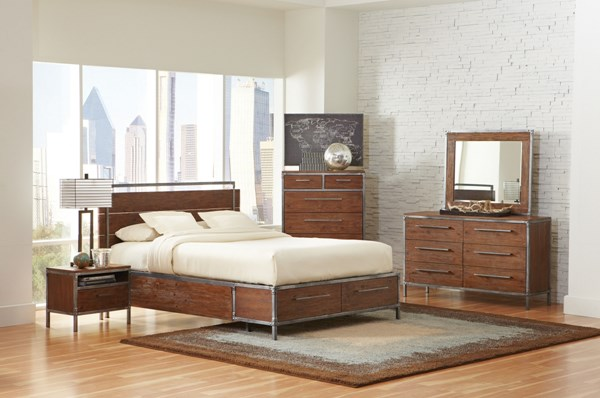 Arcadia Contemporary Weathered Acacia Wood 5pc Bedroom Sets CST-2038-BR-S