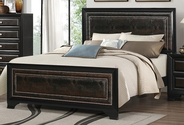 Delano Black Wood Faux Leather Panel Beds CST-203811-BEDS