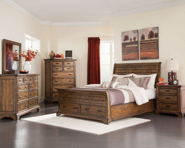 Elk Grove Vintage Bourbon Wood 2pc Bedroom Set W/King Bed CST-20389-BR-S2