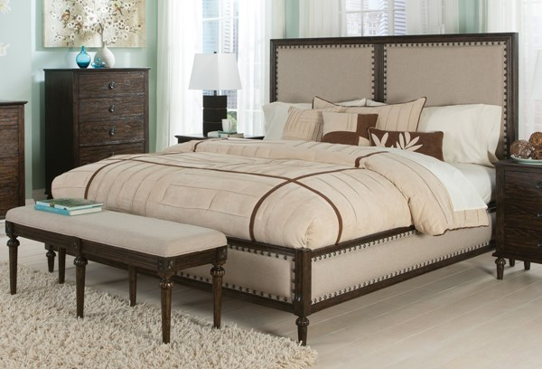 Saville Dark Oak Wood Fabric Nailheads King Bed CST-203931KE