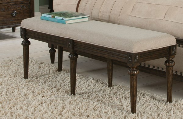 Saville Dark Oak Wood Babric Cushions Bench CST-203936
