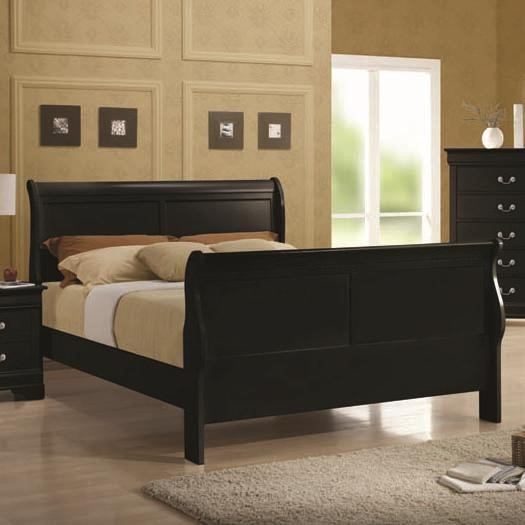 Louis Philippe Traditional Black Cherry Wood Beds CST-203961-BEDS