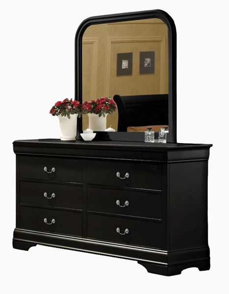 Louis Philippe Traditional Black Cherry Dresser & Mirror CST-203963-4-73-4-VAR