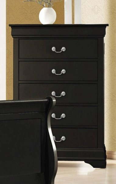 Louis Philippe Transitional Black Wood Chest CST-203965
