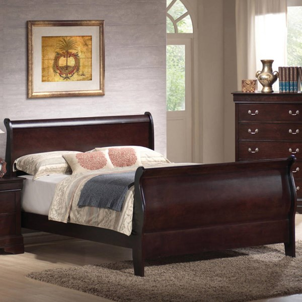 Louis Philippe Traditional Cappuccino Wood Beds CST-203981-BEDS-VAR