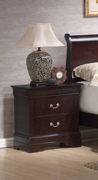 Louis Philippe Elegant Cappuccino Wood Night Stand CST-203982N