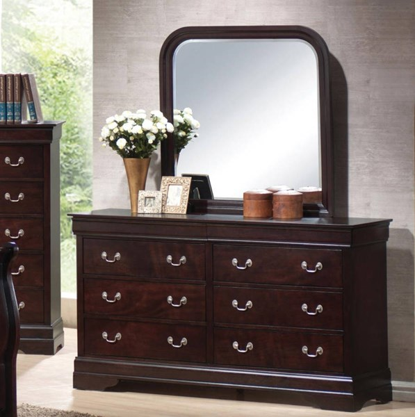 Louis Philippe Traditional Cappuccino Dresser & Mirror CST-203983N-203984N
