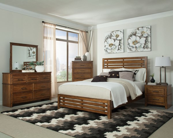 Cupertino Transitional Amber Wood 5pc Bedroom Set w/King Bed CST-20402-BR-S2