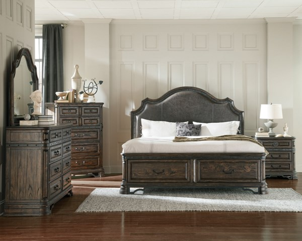 Carlsbad Traditional Dark Brown Wood 2pc Upholstered Bedroom Sets CST-2040-BR-S