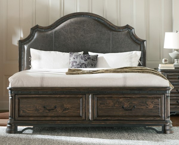 Carlsbad Traditional Dark Brown Wood Cal King Upholstered Bed CST-204040KW