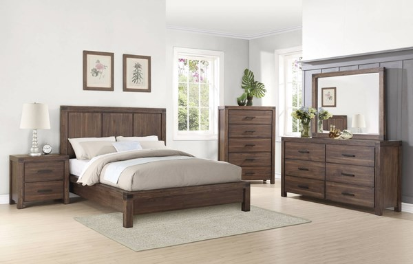 Lancashire Wire Brushed Cinnamon Wood 2pc Bedroom Sets CST-20411-BR-S