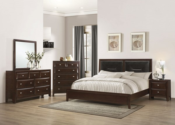 Cloverdale Transitional Cappuccino Wood 5pc Bedroom Sets CST-204121-BR-S