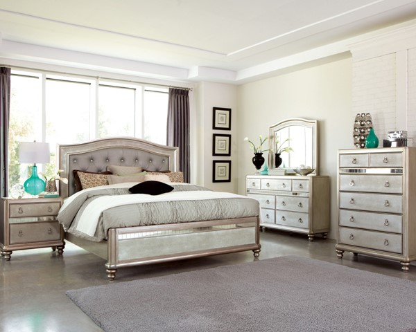 Bling Game Metallic Platinum Wood Master Bedroom Set CST-204181-BR