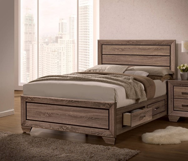 Kauffman Transitional Washed Taupe Wood Storage Beds CST-204190Q-VAR