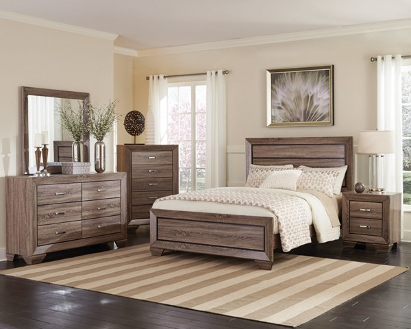 Kauffman Transitional Taupe Wood 2pc Bedroom Sets CST-204191-BR-S