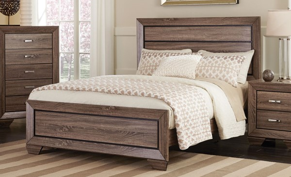 Kauffman Transitional Taupe Wood Panel Beds CST-204191-BEDS