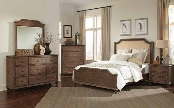 Dalgarno Mushroom Fabric Wood Master Bedroom Set CST-204241-BR