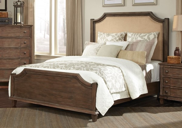 Dalgarno Mushroom Fabric Wood Queen Panel Bed CST-204241Q
