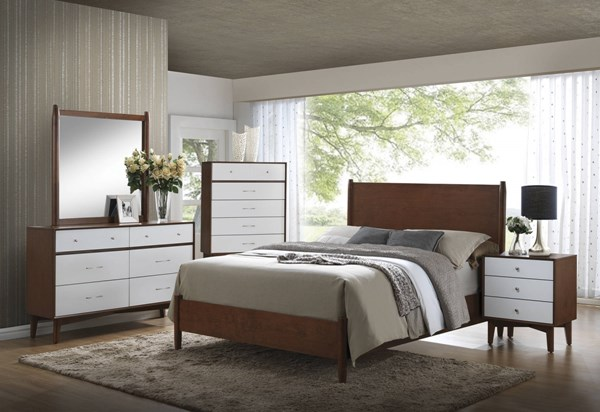 Oakwood Modern Brown White Wood 2pc Bedroom Set W/King Bed CST-20430-BR-S2
