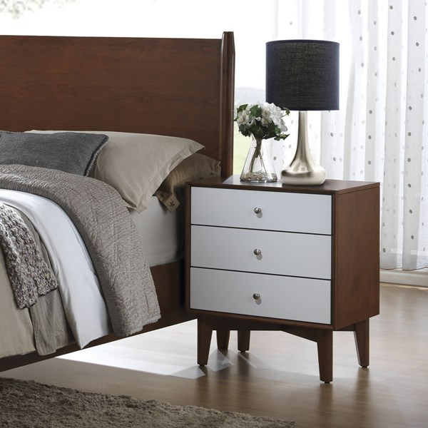 Oakwood Modern Brown White Felt Lined Top Drawer Wood Nightstand CST-204302