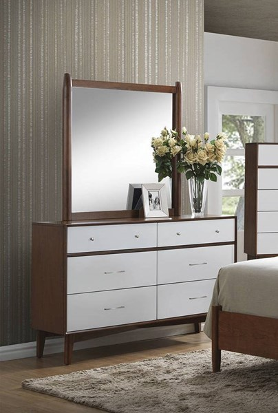 Oakwood Modern Brown White Wood Felt Lined Top Drawer Dresser & Mirror CST-20430-DRMR