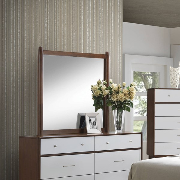 Oakwood Modern Brown Felt Lined Top Drawer Wood Glass Mirror CST-204304