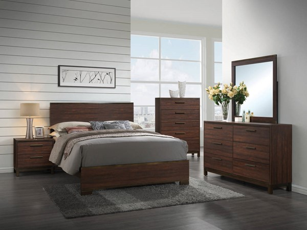 Edmonton Transitional Rustic Tobacco Asian Hardwood  5pc Bedroom Set CST-20435-BR-S