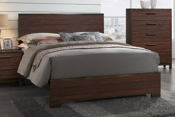 Edmonton Transitional Rustic Tobacco Asian Hardwood  Queen Bed CST-204351Q