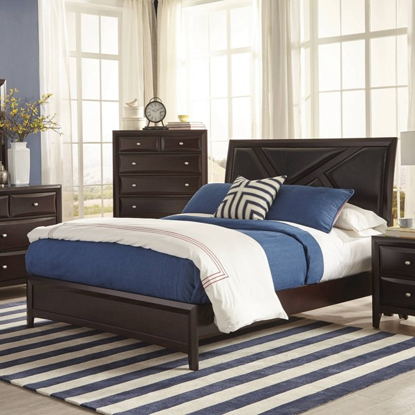 Rossville Transitional Medium Cappuccino Wood Upholstered King Bed CST-204381KE