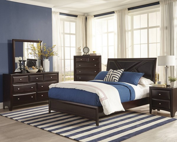 Rossville Medium Cappuccino Wood 5pc Bedroom Set w/Upholster Queen Bed CST-20438-BR-S1