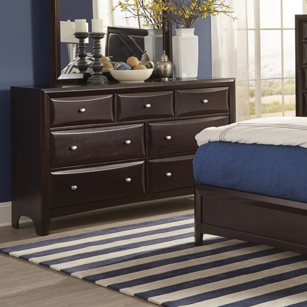 Rossville Transitional Cappuccino Wood Beveled Drawer Front Dresser CST-204383