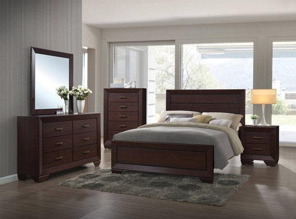 Fenbrook Transitional Dark Cocoa Wood 2pc Bedroom Sets CST-20439-BR-S