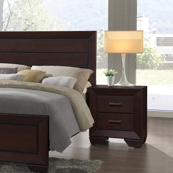 Fenbrook Transitional Dark Cocoa Wood Center Glide Drawer Nightstand CST-204392