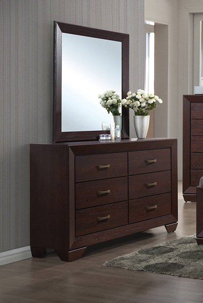 Fenbrook Transitional Dark Cocoa Wood Glide Drawer Dresser & Mirror CST-20439-DRMR