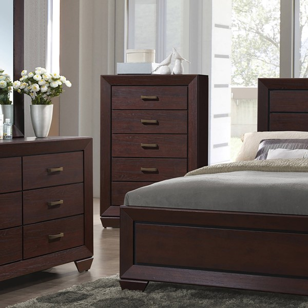 Fenbrook Transitional Dark Cocoa Wood Center Glide Drawer Chest CST-204395