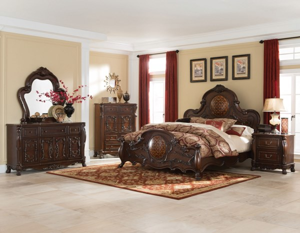 Abigail Traditional Cherry Wood 2pc Bedroom Set W/Cal King Panel Bed CST-204450-BR-S3